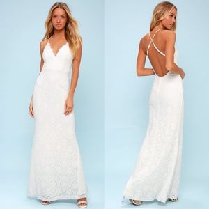 NEW LULUS Alice White Lace Backless Maxi DRESS XS